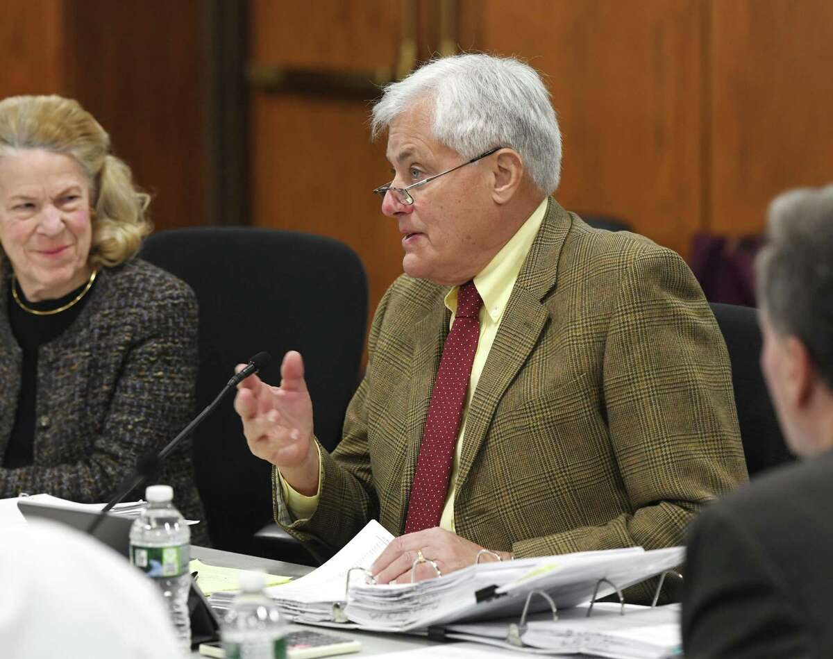 BET Budget Committee member Jeffrey Ramer speaks during the Greenwich Board of Estimate and Taxation Budget Committee Meeting at Town Hall in Greenwich, Conn. Tuesday, Feb. 4, 2020.