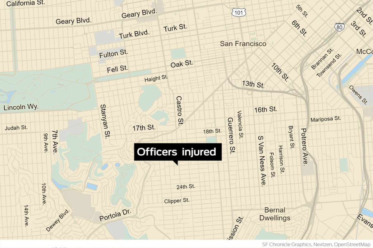 Two San Francisco police officers and a suspect they were attempting to detain were taken to a hospital with non-life threatening injuries after the suspect allegedly lunged toward the officers with a razor blade in Noe Valley.