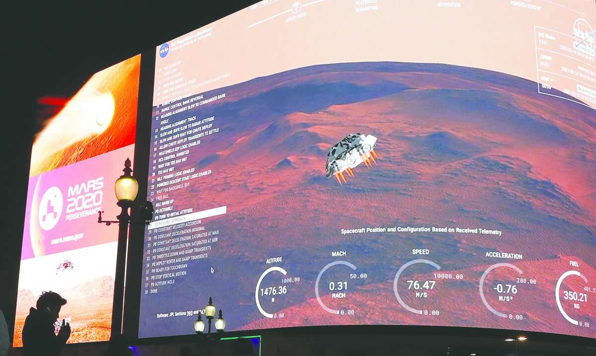 Images from NASA are streamed live Thursday to show the landing of Perseverance on Mars. The rover landing mission begins its search for traces of life after the successful landing. On board is a helicopter designed by a Jacksonville native and her team that will be used to make the first-ever controlled flight on another planet.