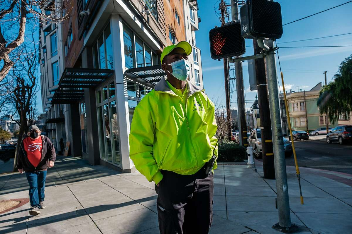 Safety ambassador Kenneth Caston patrols the Castro neighborhood.