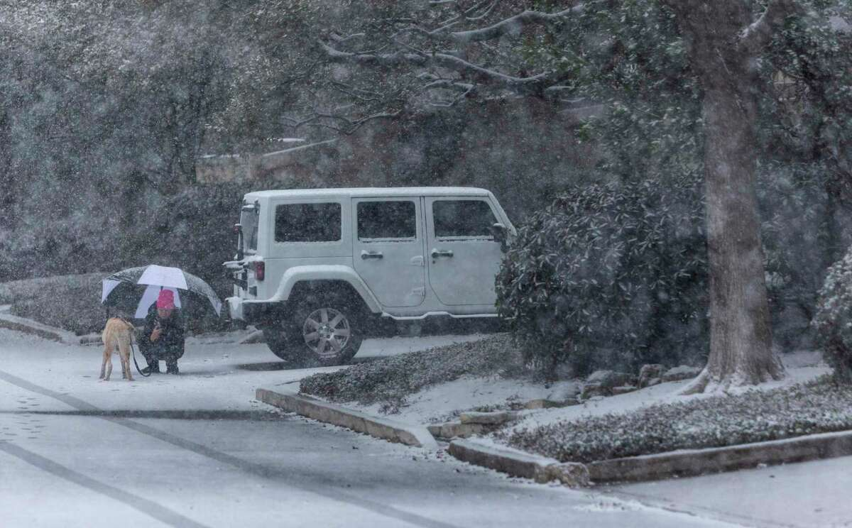 A person takes picture of their dog Thursday, Feb. 18, 2021, in Alamo Heights as snow returns to San Antonio.