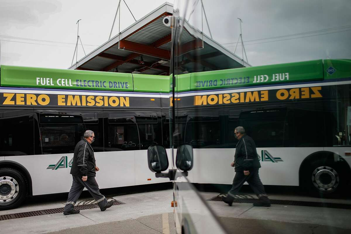 Hydrogen, which fuels vehicles such as this AC Transit bus in Emeryville, can be used to fill gaps between solar and wind power.