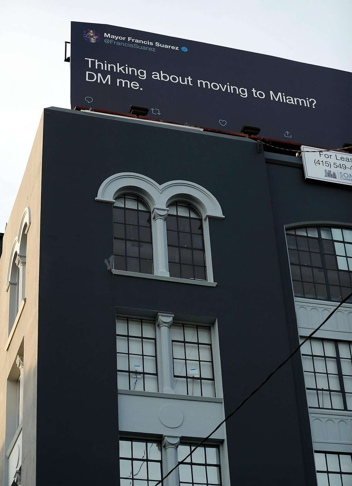 Billboard on Brannan Street encouraging SF residents to move to Miami in San Francisco, Calif., on Thursday, February 18, 2021.