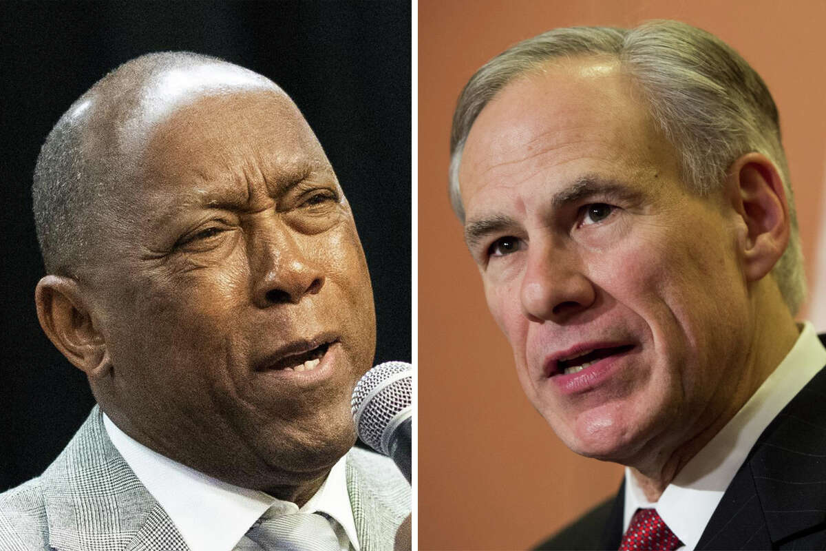 Houston Mayor Sylvester Turner (left) and Texas Gov. Greg Abbott are pictured together in this composite photo.