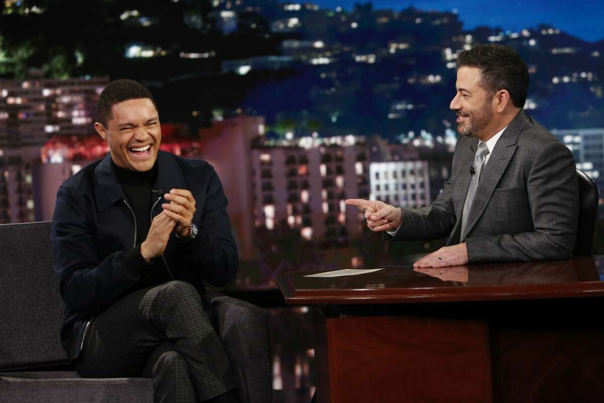 Trevor Noah as a guest on Jimmy Kimmel Live