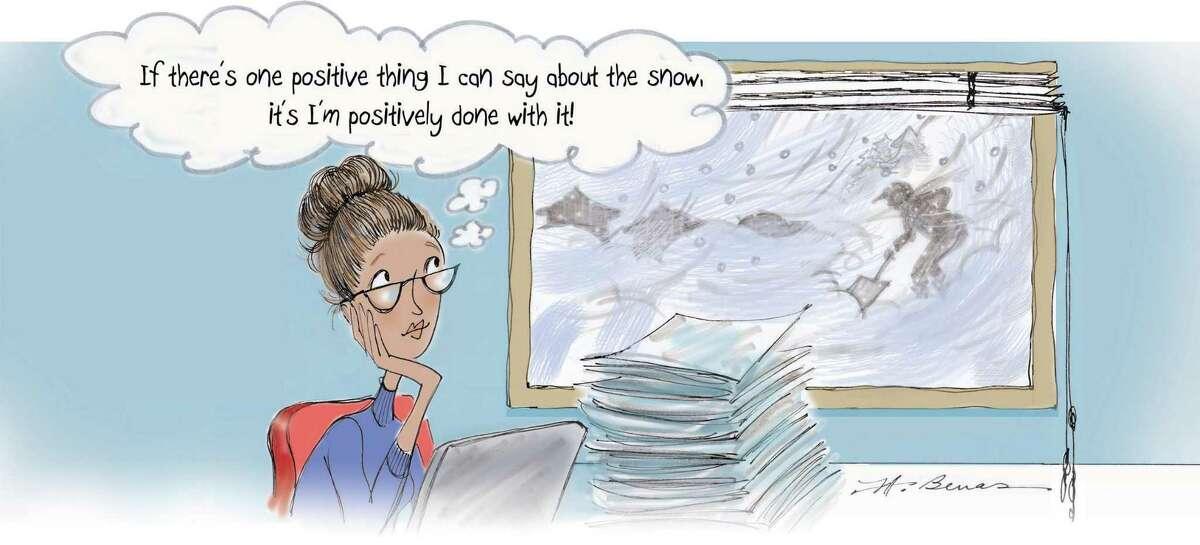 The Women@Work spring 2021 magazine's 9 to 5 cartoon by Jeanne A. Benas.