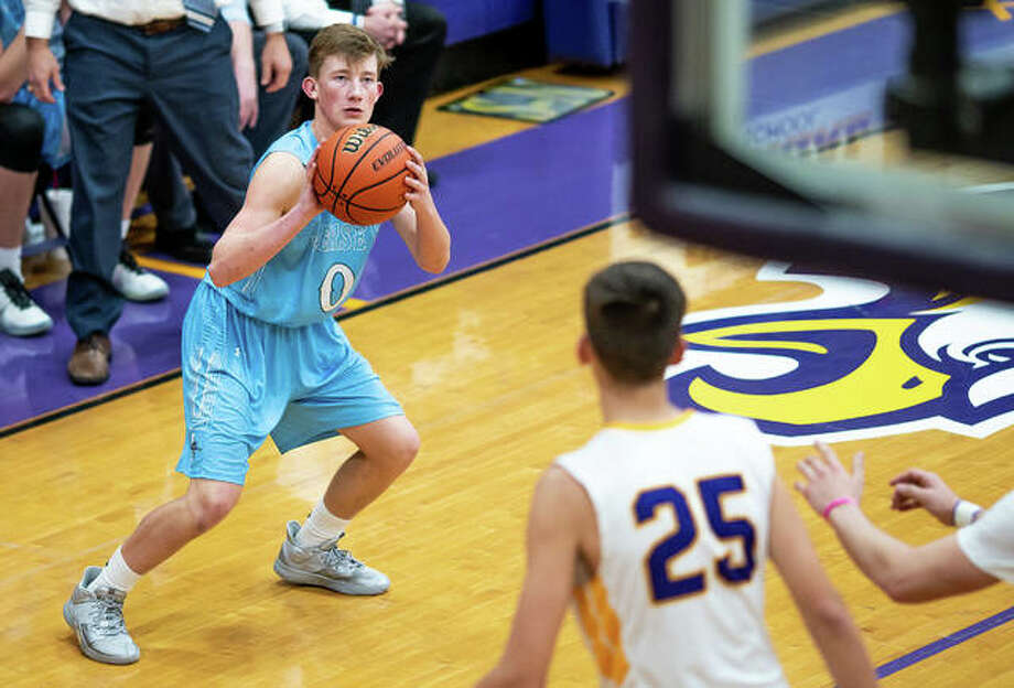 Ian Sullivan of Jersey scored 14 points Thursday night in the Panthers' 54-51 Mississippi Valley Conference loss at Waterloo. He is pictured in action last season against Civic Memorial. Photo: Nathan Woodside | Telegraph File Photo