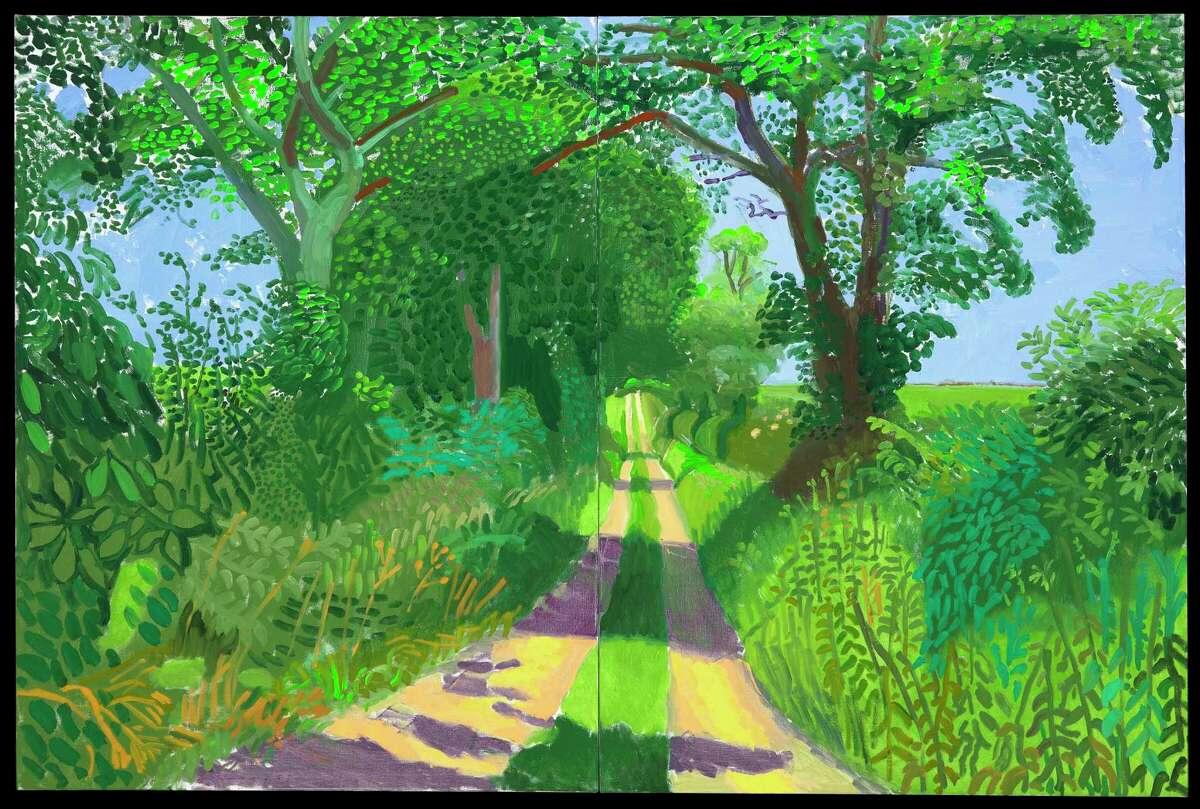 """David Hockney's oil painting """"Early June Tunnel, 2006"""" is among works on view in """"Hockney-Van Gogh: The Joy of Nature"""" at the Museum of Fine Arts, Houston. Feb. 21-June 20."""