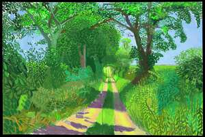 "David Hockney's oil painting ""Early June Tunnel, 2006"" is among works on view in ""Hockney-Van Gogh: The Joy of Nature"" at the Museum of Fine Arts, Houston. Feb. 21-June 20."
