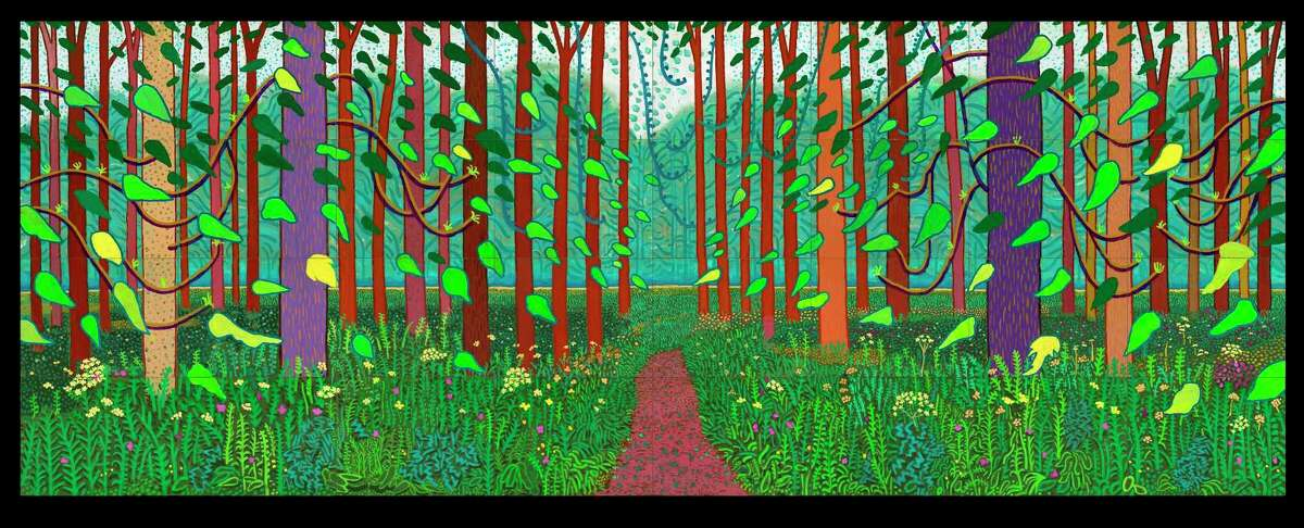 """David Hockney painted """"Arrival of Spring in Woldgate, East Yorkshire in 2011"""" outdoors, using 32 canvases to create the complete, monumental picture. It's a star of the show """"Hockney-Van Gogh: The Joy of Nature,"""" up Feb. 21-June 20 at the Museum of Fine Arts, Houston, its only US venue."""