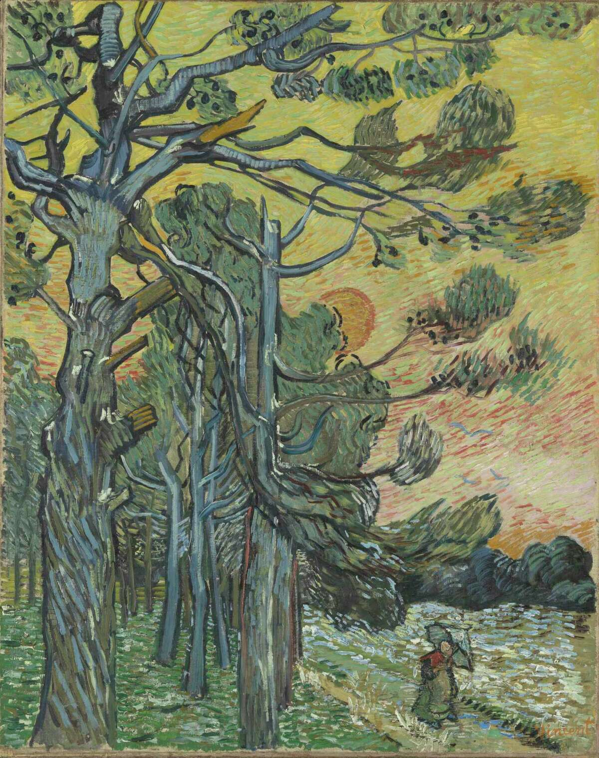 """Vincent Van Gogh's """"Pine Trees at Sunset"""" is among works on view in """"Hockney-Van Gogh: The Joy of Nature"""" at the Museum of Fine Arts, Houston Feb. 21-June 20."""