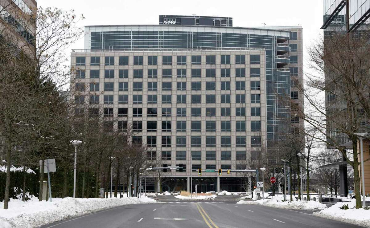 WWE is planning to relocate its headquarters to this office complex at 677 Washington Blvd., in downtown Stamford, Conn.