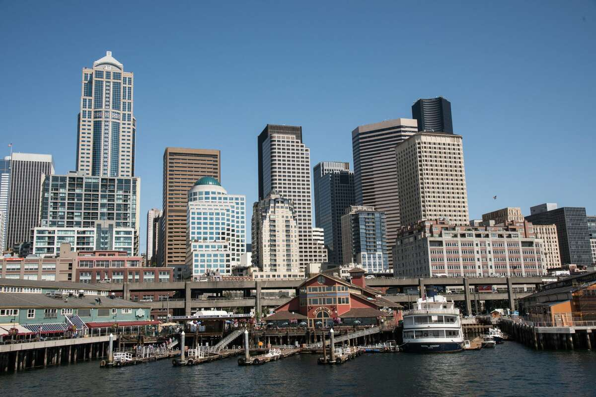 Skyline of Seattle, Washington from the harbor. (Photo by: Education Images/Universal Images Group via Getty Images)