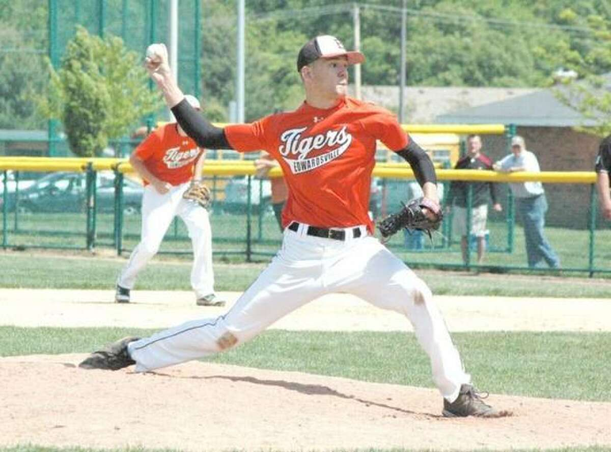 In this file photo, Sam Stolte delivers a pitch for the Edwardsville Tigers during the Tiger Classic in 2011.