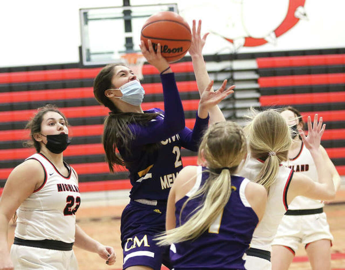 CM's Azia Ray puts up a shot to score in traffic in the third quarter Thursday night in Highland.