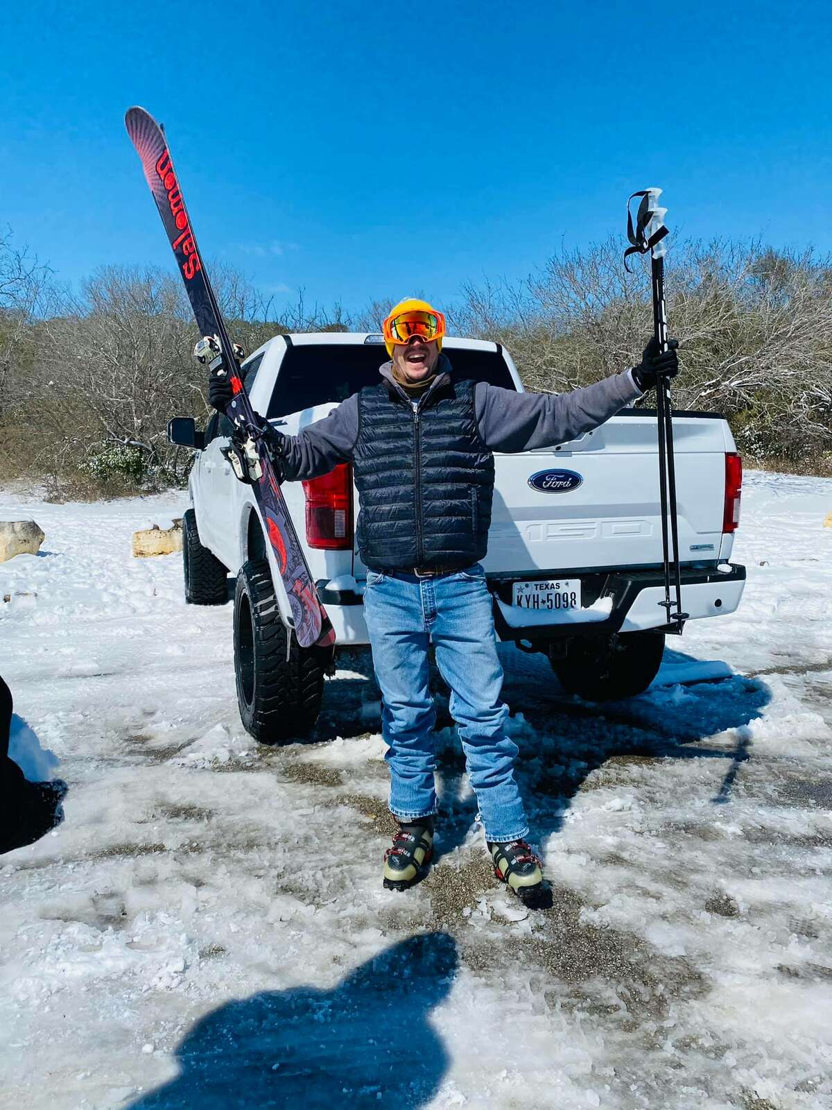 Paul Grigsby, 40, told MySA.com he knew the opportunity probably wouldn't come around again as it hardly snows in Texas.