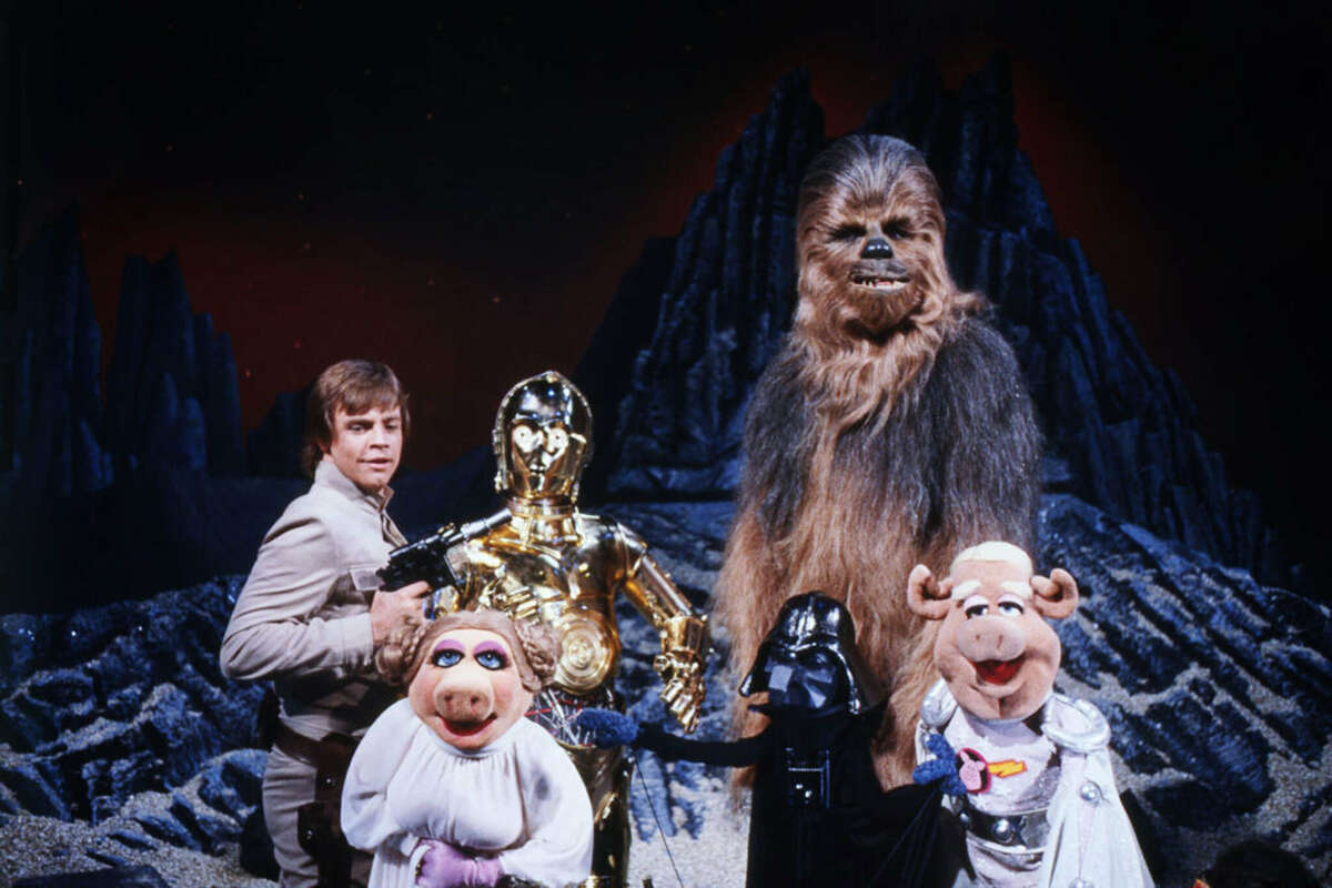"""""""Pigs in Space"""" on """"The Muppet Show"""" featured Mark Hamill, left,as Luke Skywalker, Miss Piggy as Leia and Gonzo as Dearth Nadir."""
