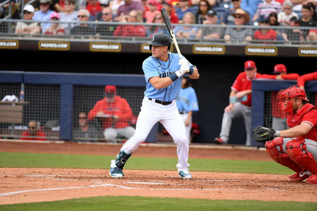 PEORIA, ARIZONA - MARCH 10: Jarred Kelenic #58 of the Seattle Mariners gets ready in the batters box against the Los Angeles Angels during a spring training game at Peoria Stadium on March 10, 2020 in Peoria, Arizona. (Photo by Norm Hall/Getty Images)