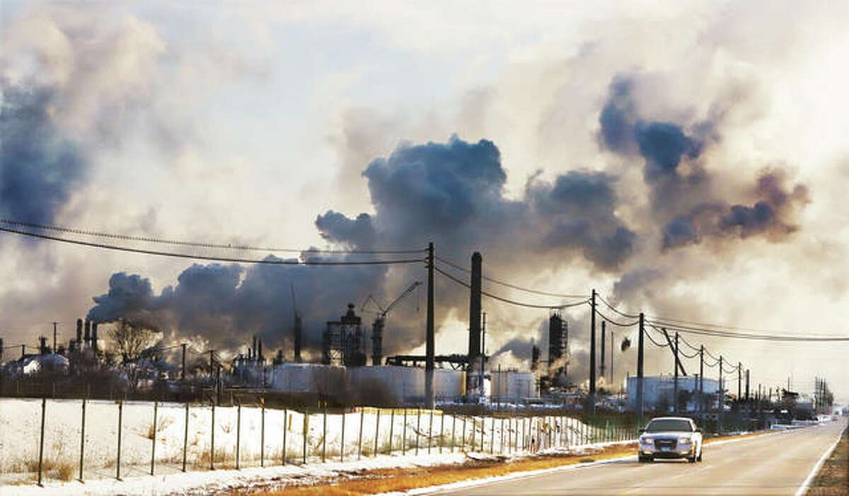 They were getting all steamed up at the Phillips 66 Operated Wood River Refinery in Roxana. With morning temperatures in the single digits the heated processes of refining were belching out massive clouds of mostly steam.