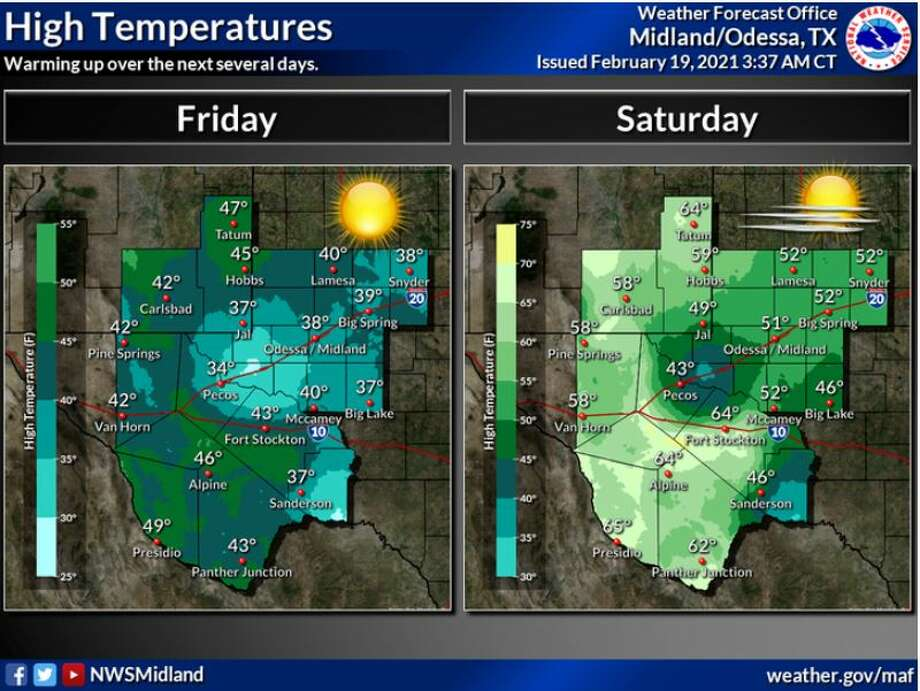 Friday we will see clearing skies and warming temperatures finally. Saturday, temperatures will reach into the 50s. Photo: Midland National Weather Service