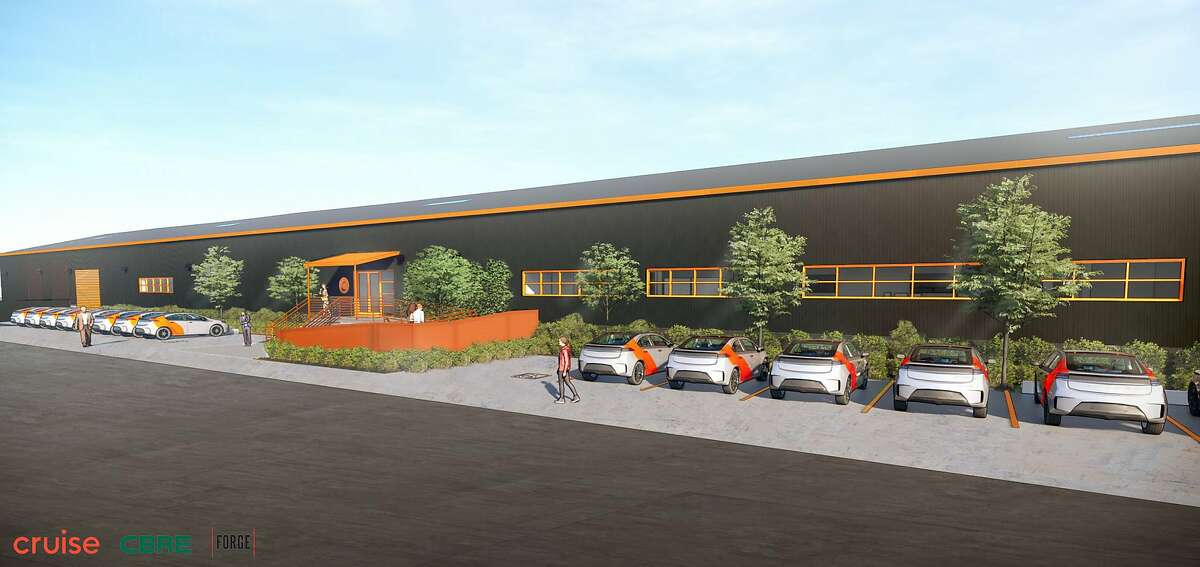 Cruise will install electric charging stations at its forthcoming fleet maintenance location at 640 Cesar Chavez St. in San Francisco, shown here in a rendering.
