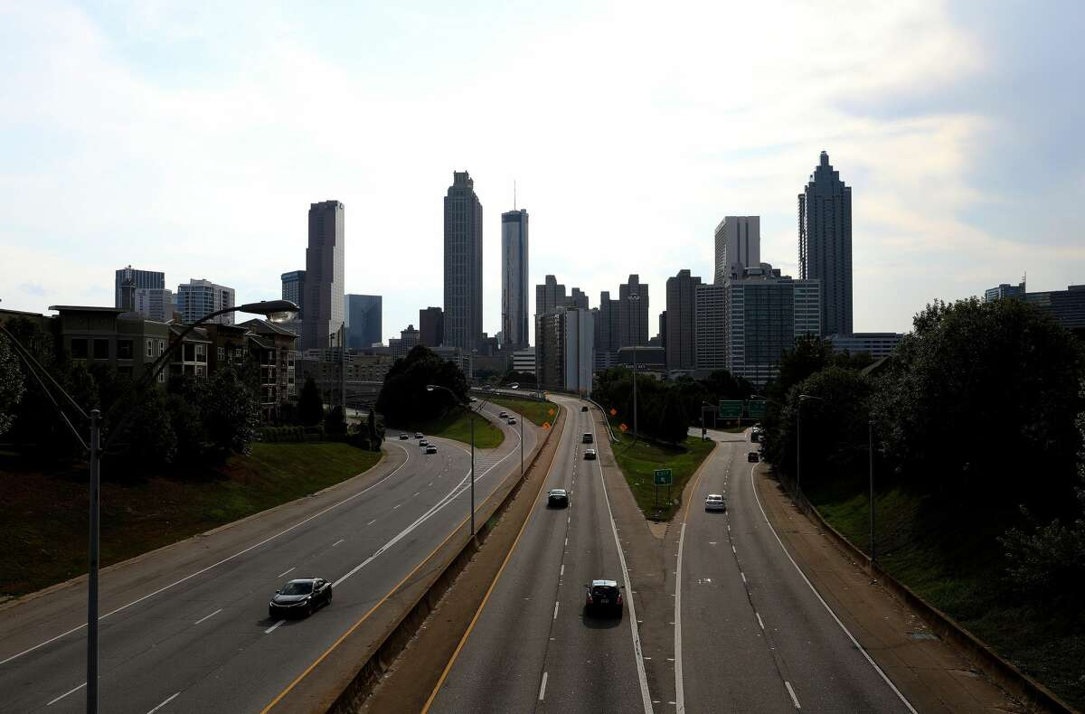 Downtown Atlanta skyline at dusk, photographed from the Jackson Street bridge in Atlanta, Georgia on July 27, 2019. (Photo By Raymond Boyd/Getty Images)