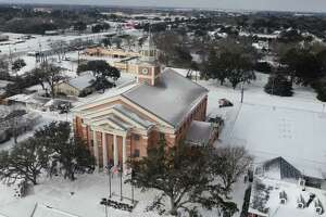 This photograph shows Katy city hall covered in snow on Wednesday, Feb. 17, 2021.
