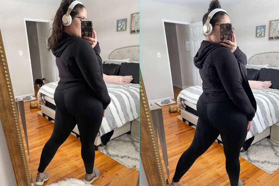 Me, just trying my best to pretend I am be a fit influencer now than I own these leggings Photo: Ana Suarez For Hearst Newspapers