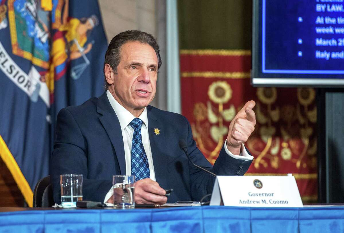 Gov. Andrew Cuomo holds a coronavirus press briefing on Feb. 15, 2021, at the Capitol in Albany, N.Y.