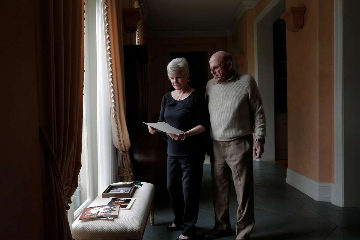 Bob and Connie Lurie at their home in Atherton, Calif., on Sunday, February 14, 2021. In 1981, Bob Lurie hired Frank Robinson, the first Black manager in the National League.