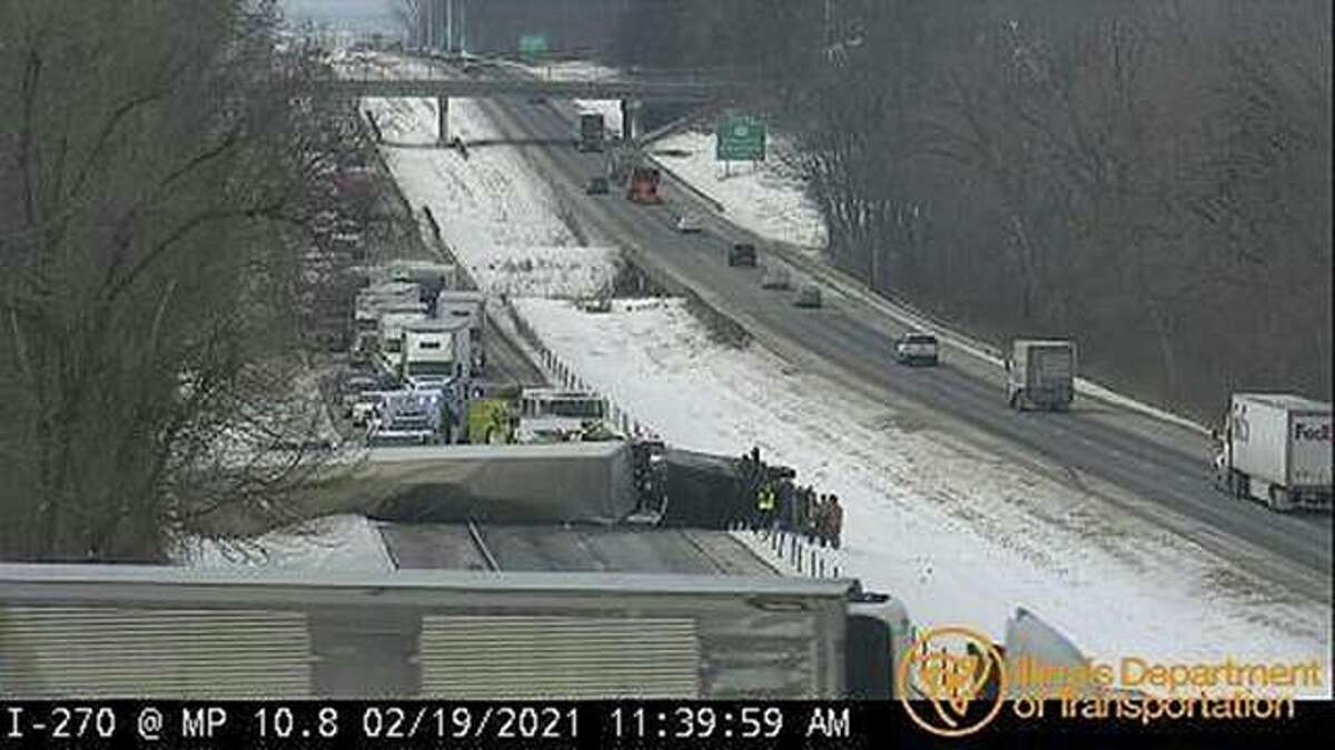 An IDOT camera displays the crash on I-270 eastbound between Routes 157 and 159 Friday.