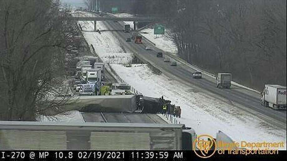 An IDOT camera displays the crash on I-270 eastbound between Routes 157 and 159 Friday. Photo: Courtesy Of IDOT.