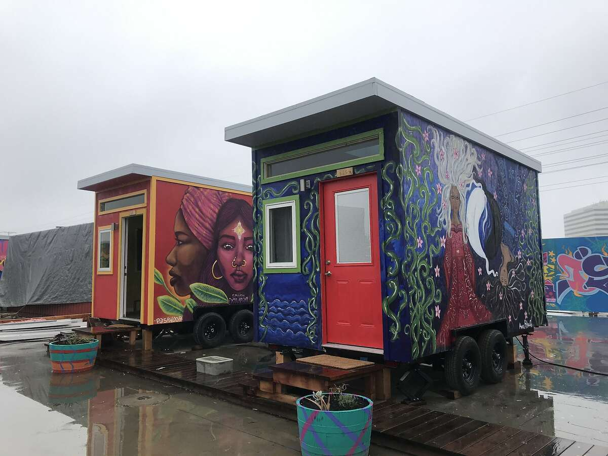 Youths moved into the Youth Spirit Artworks village in Oakland on Friday. A total of 26 young people will live at the site. The village, the first sanctioned tiny home encampment in Oakland, will be home to young people who have experienced homelessness.