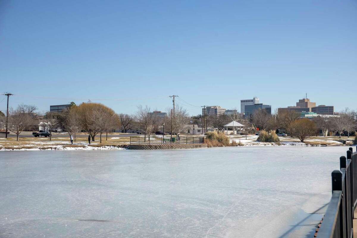 The sun shines on the frozen duck pond Friday, Feb. 19, 2021 at Wadley-Barron Park. Jacy Lewis/ Reporter-Telegram
