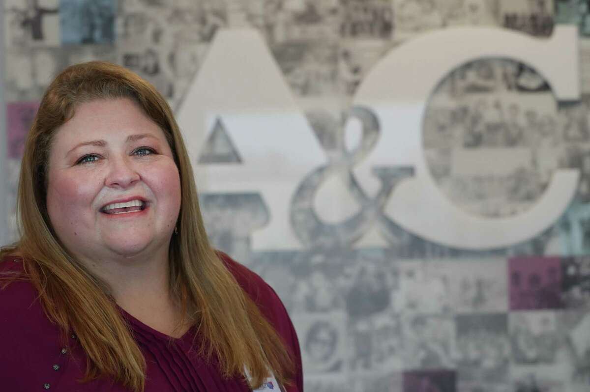 Katie Clapp, president of A&C Plastics poses for a photo Friday, Feb. 19, 2021, in Houston.