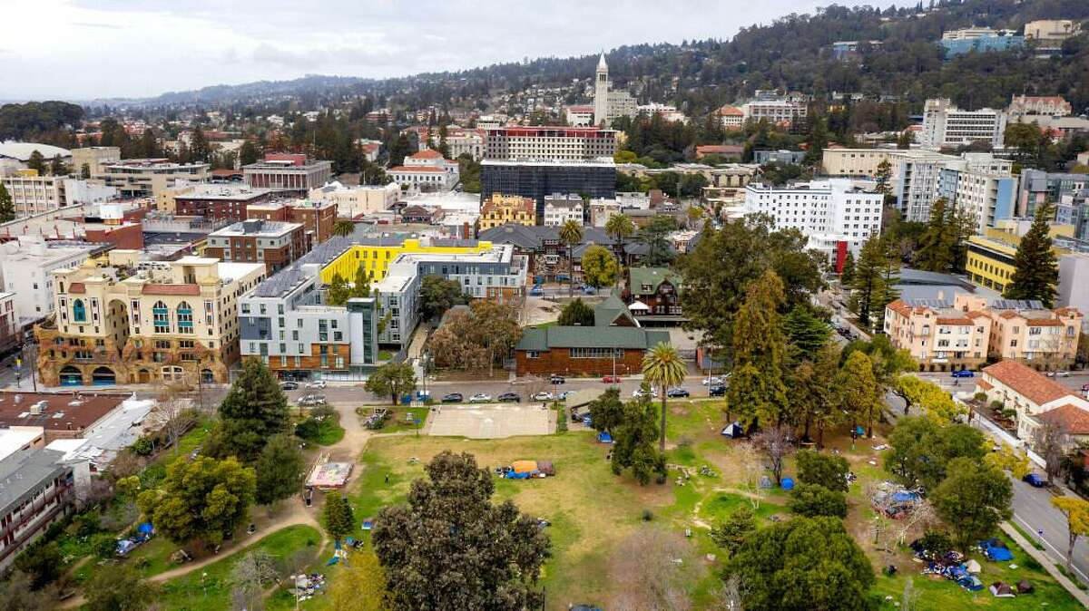 People's Park is pictured with UC Berkeley's campus in the background on Tuesday, Feb. 9, 2021, in Berkeley, Calif. Students are rallying and camping in the park to protest UC Berkeley's plan to develop the property as student housing.