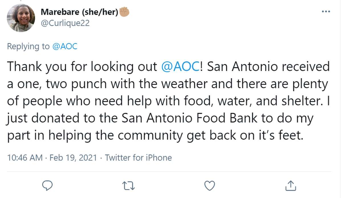 @Curlique22: Thank you for looking out @AOC! San Antonio received a one, two punch with the weather and there are plenty of people who need help with food, water, and shelter. I just donated to the San Antonio Food Bank to do my part in helping the community get back on it's feet.