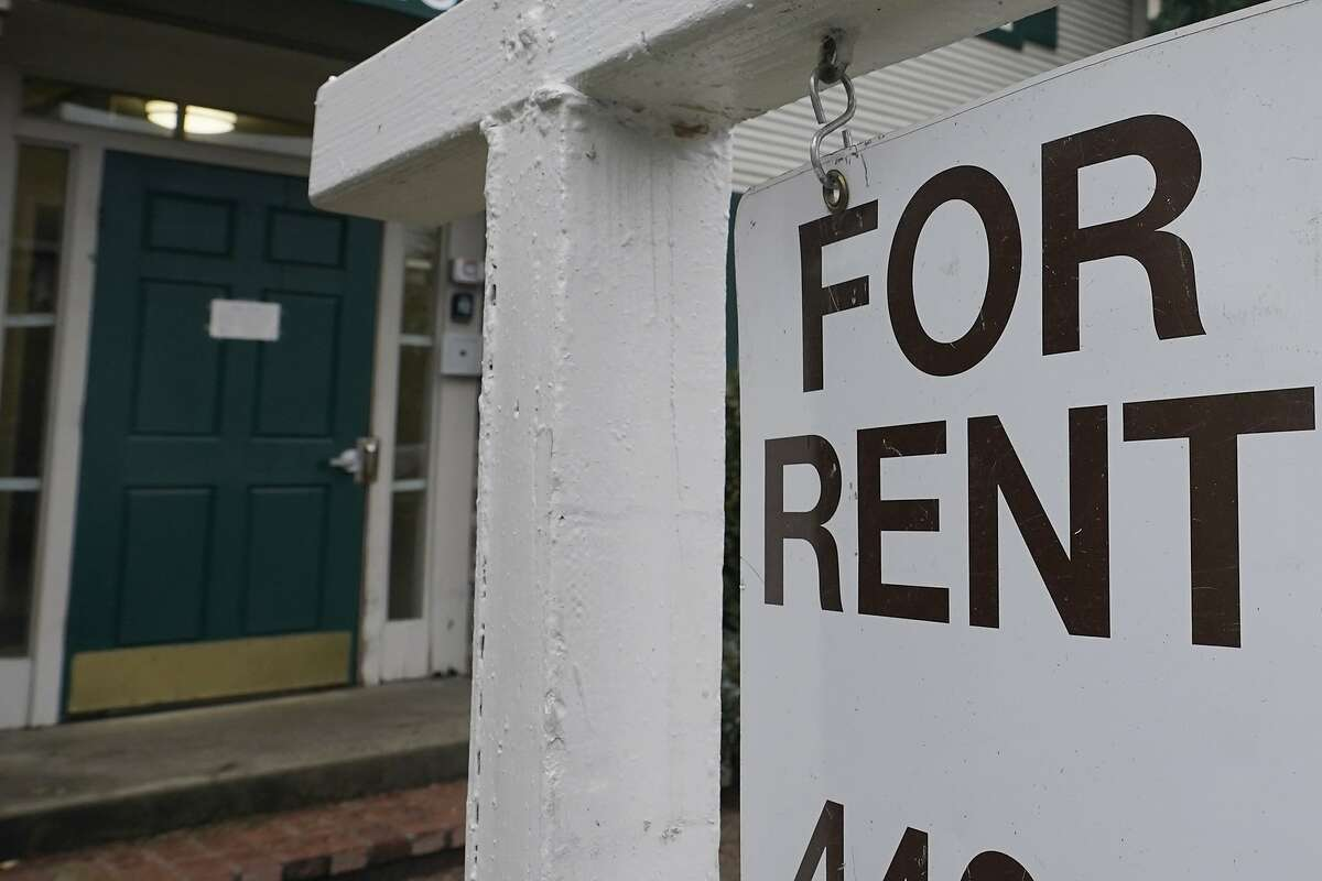 A For-Rent sign in Sacramento, Calif., Wednesday, Jan. 27, 2021. Yet more data is putting San Francisco's pandemic-driven rent decline into sharp relief, while showing the opposite trend in nearby Sacramento, as Northern Californians flee pricey urban regions for more affordable ones.