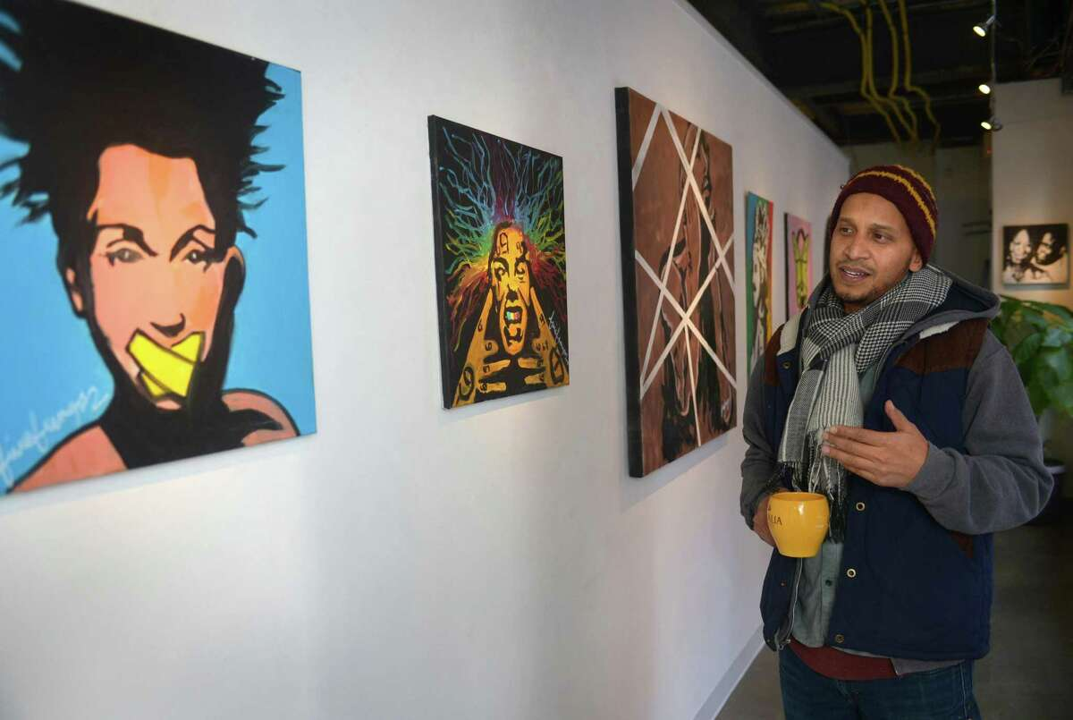 An exhibition by 5iveFingaz at the Sidewalk Gallery on November 16, 2018, in South Norwalk.