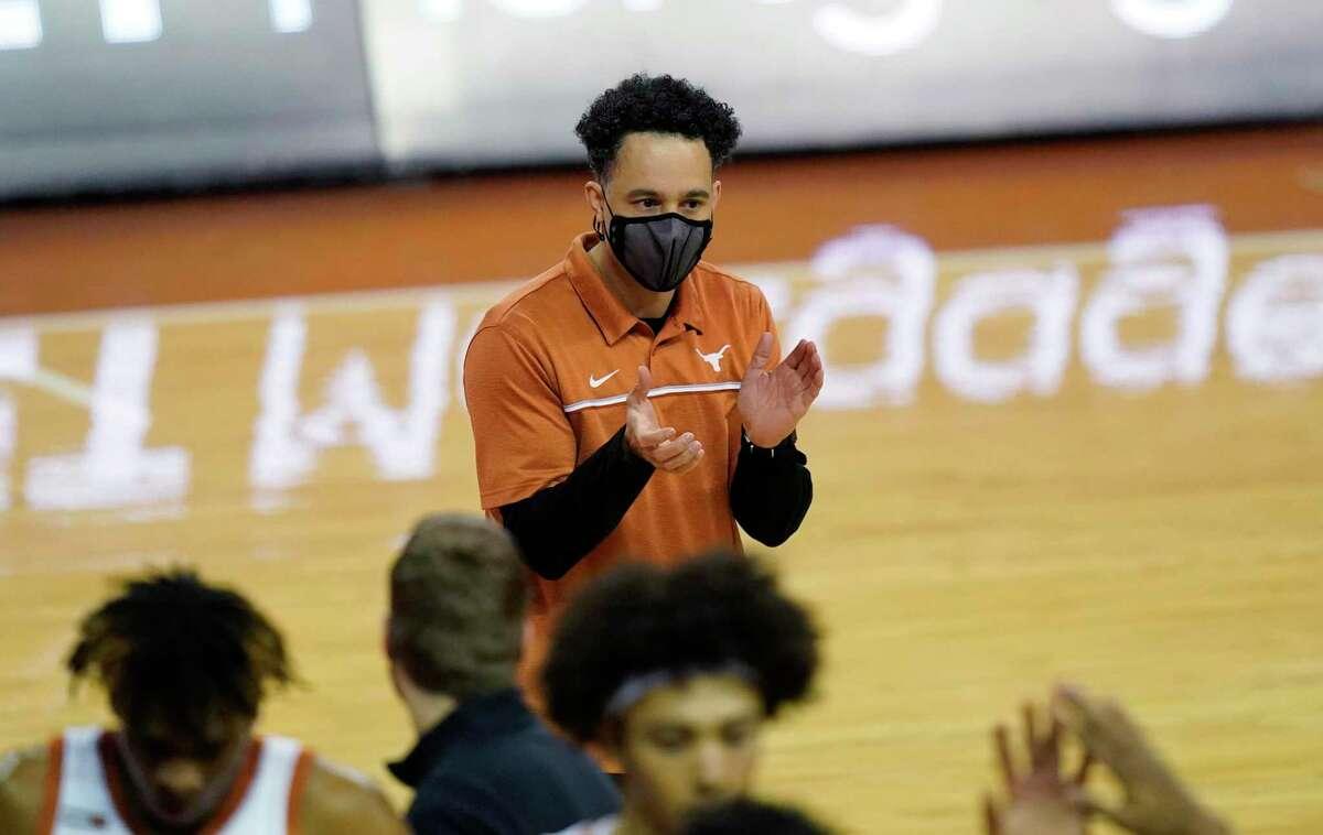Texas head coach Shaka Smart during the first half of an NCAA college basketball game against TCU, Saturday, Feb. 13, 2021, in Austin, Texas. (AP Photo/Eric Gay)