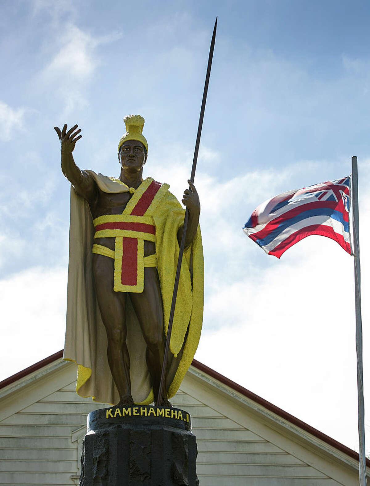A statue of Hawaii's King Kamehameha in front of his birthplace in Kapaau on the Kohala Coast, Hawaii.