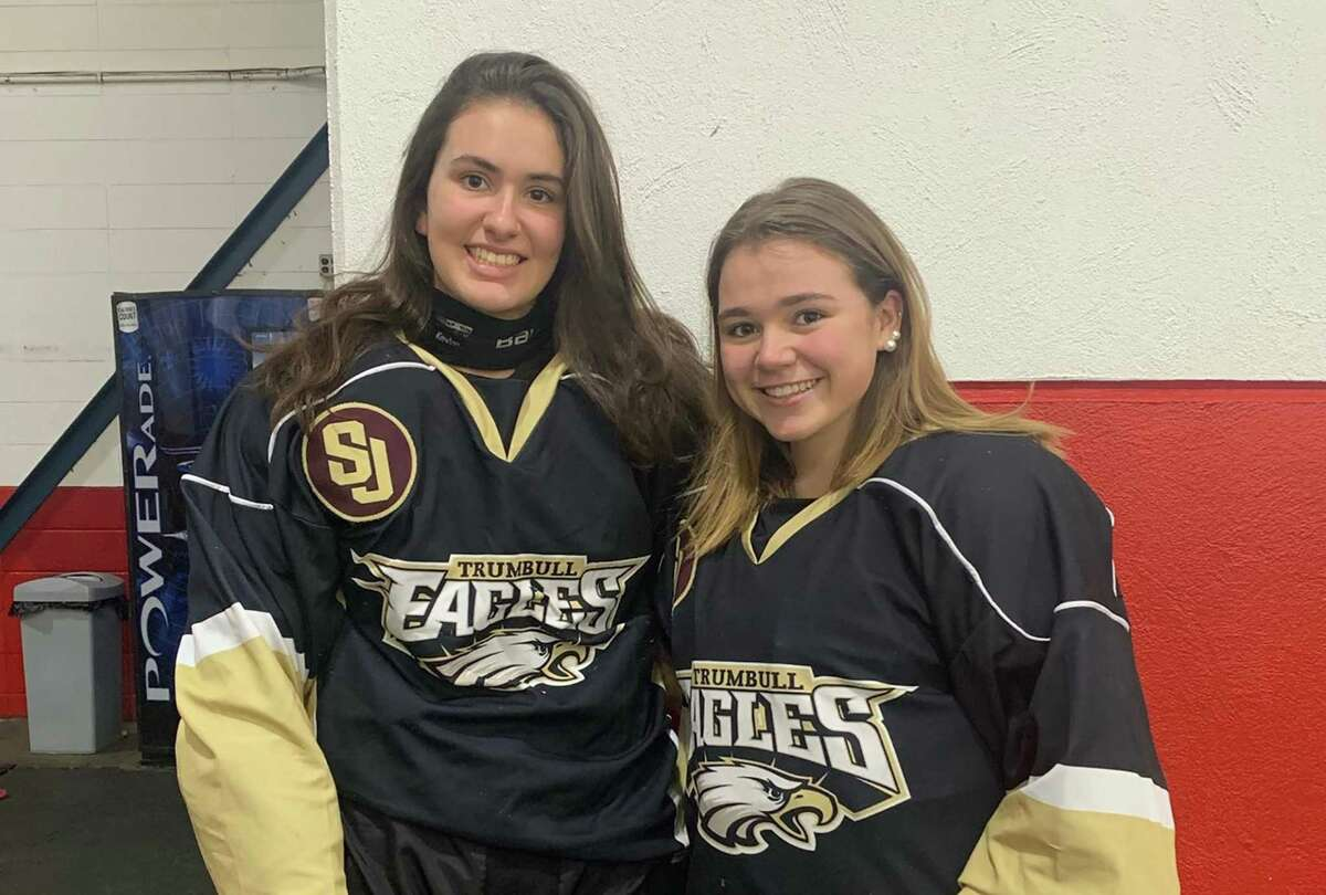 Trumbull/St. Joseph girls ice hockey senior co-captains Marcie Silberger and Megan McCarthy.