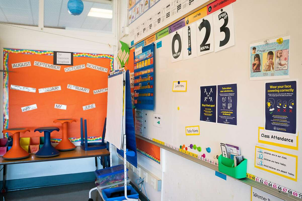 Precautionary health signs are displayed in a first grade classroom before students return for in-person learning at Sunset Elementary School in San Francisco, Feb. 17, 2021.