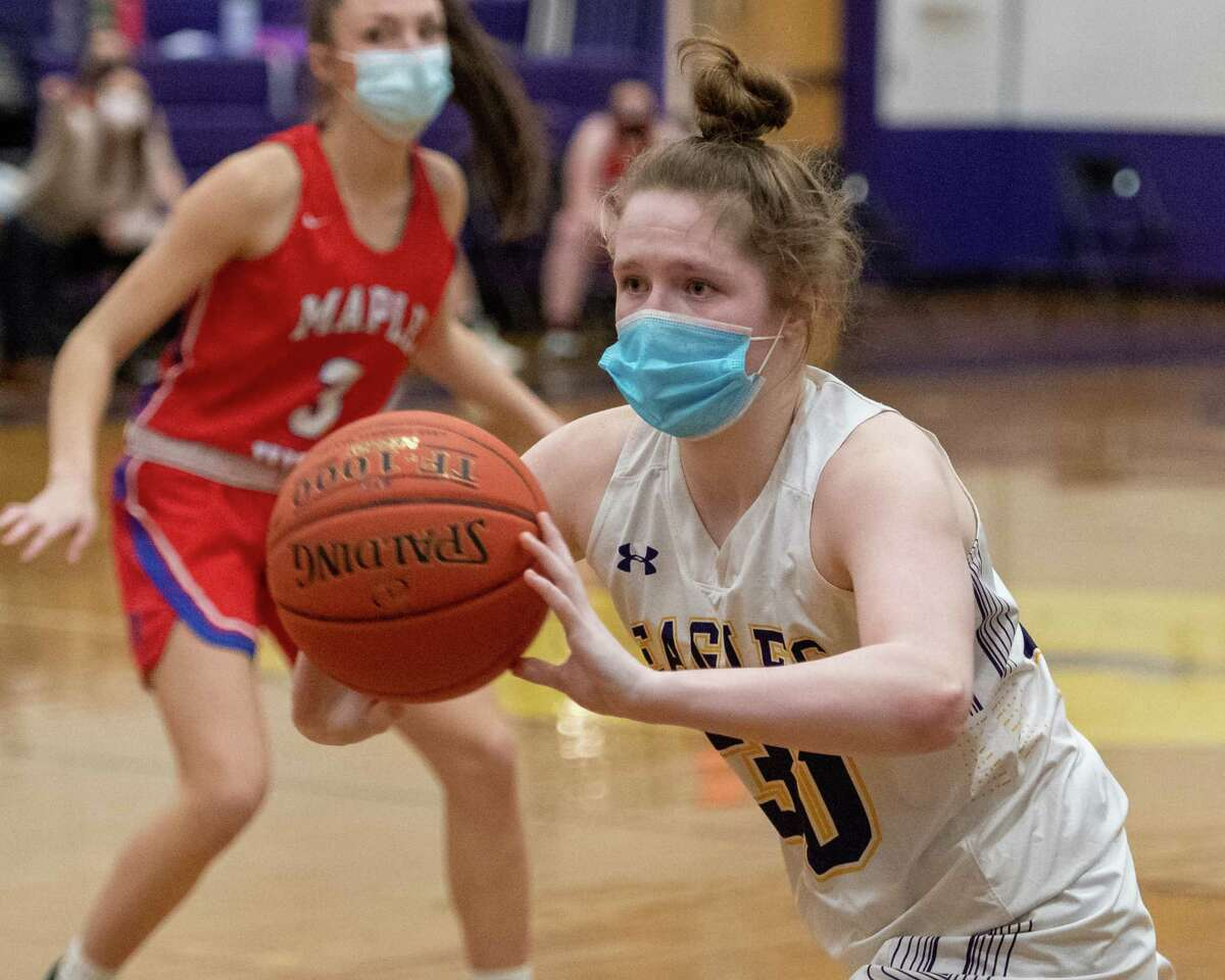 Duanesburg freshman Allison O'Hanlon passes the ball during a game against Maple Hill at Duanesburg High School in Delanson, NY, on Friday, Feb. 19, 2021 (Jim Franco/special to the Times Union.)
