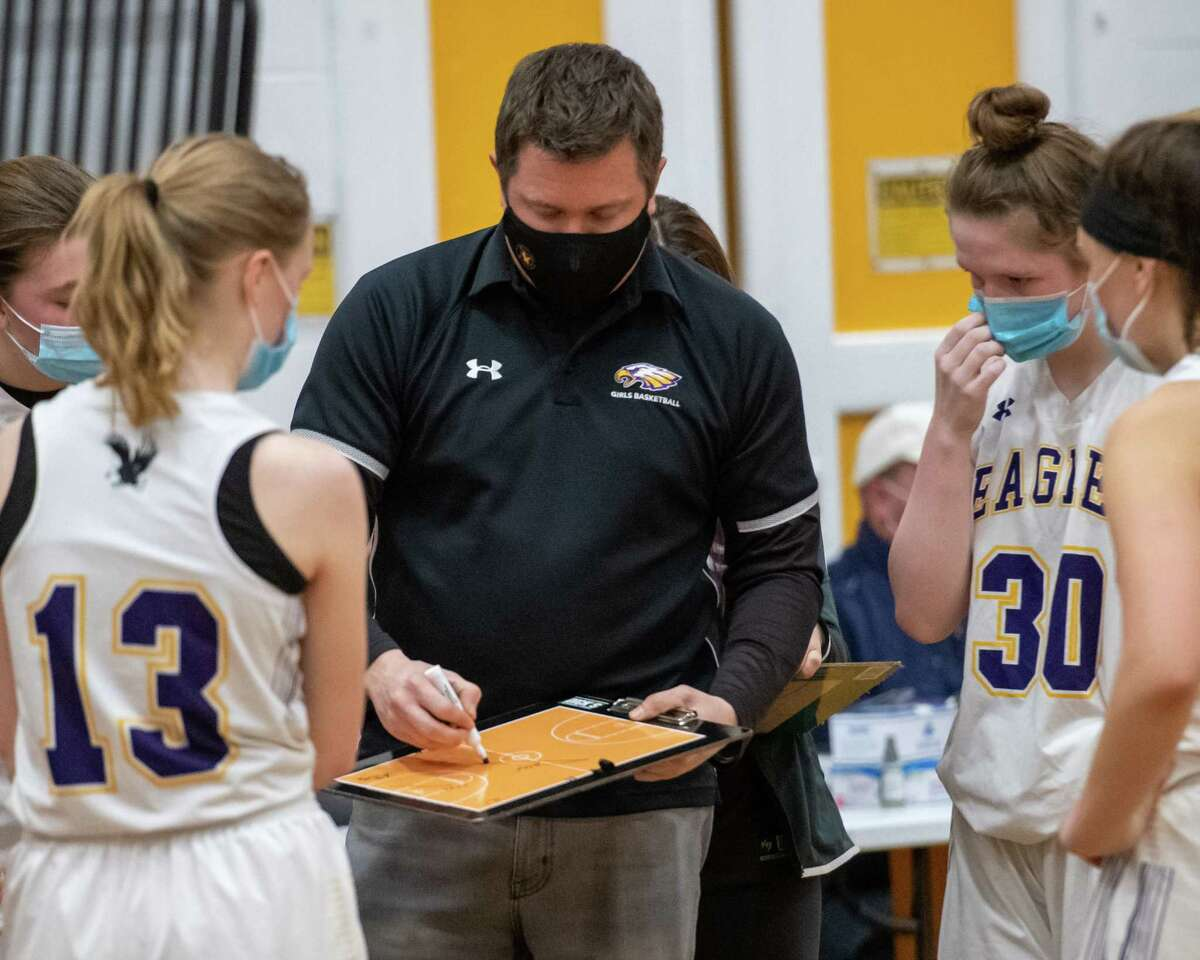Duanesburg girls basketball coach Chris Herron instructs his team during a time out against Maple Hill at Duanesburg High School in Delanson, NY, on Friday, Feb. 19, 2021 (Jim Franco/special to the Times Union.)