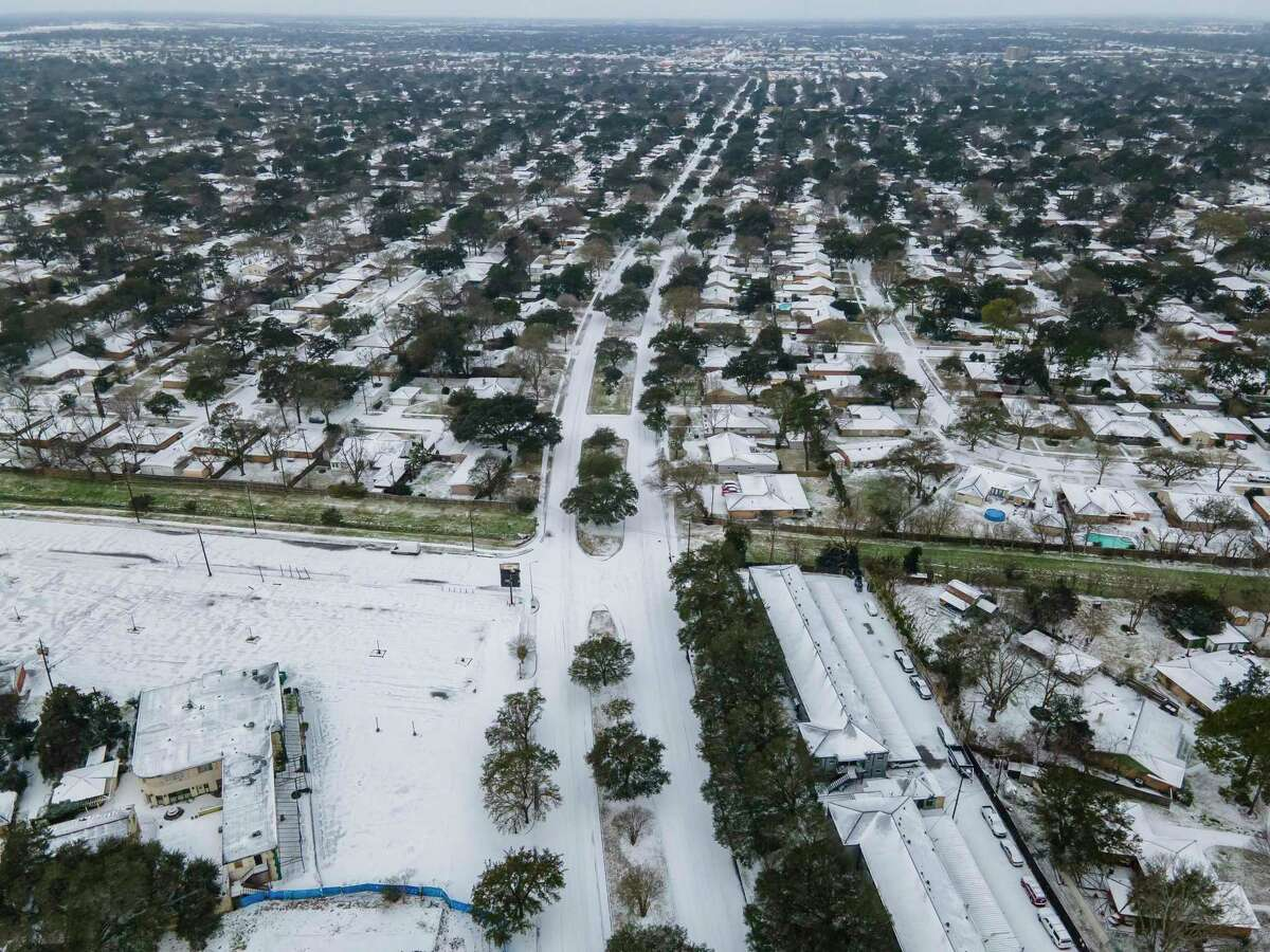 West Belfort Street stretches west in the Westbury neighborhood, Monday, Feb. 15, 2021, in Houston.
