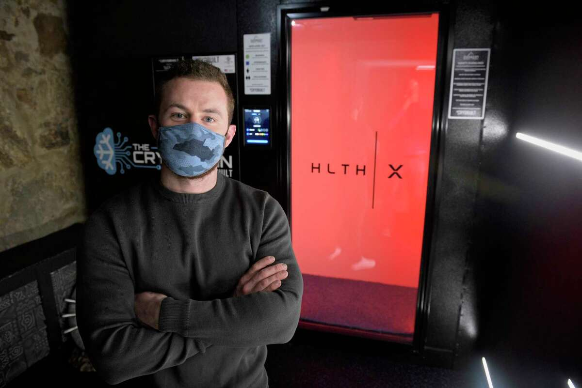 Kacey James has opened a new holistic health service, HealthX, in Ridgefield, Conn. It offers alternative treatments including full body cryotherapy, which will go down to -175 degrees. Friday, February 19, 2021.