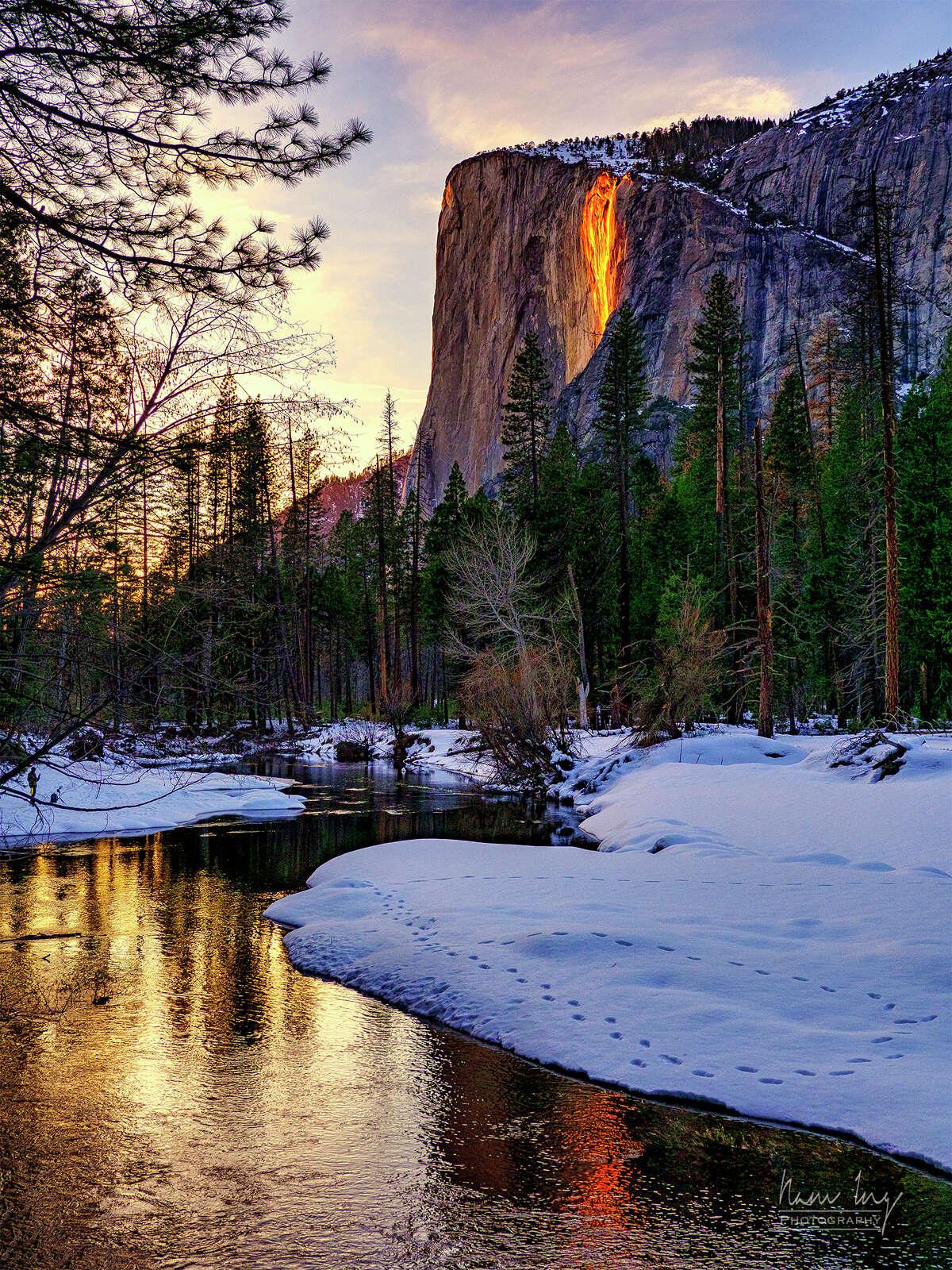 Yosemite's firefall, captured on Feb. 7, 2021.