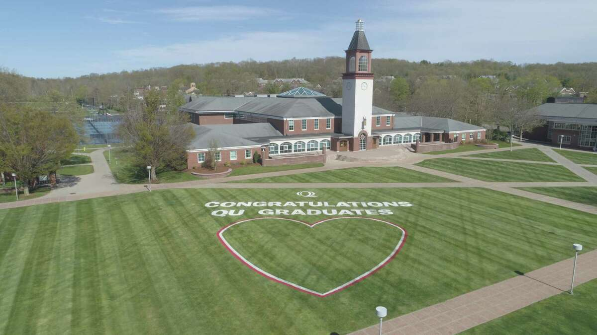 The Facilities team at Quinnipiac University painted a congratulatory message to the Class of 2020 on the quadrangle in front of the Arnold Bernhard Library on the Mount Carmel Campus.