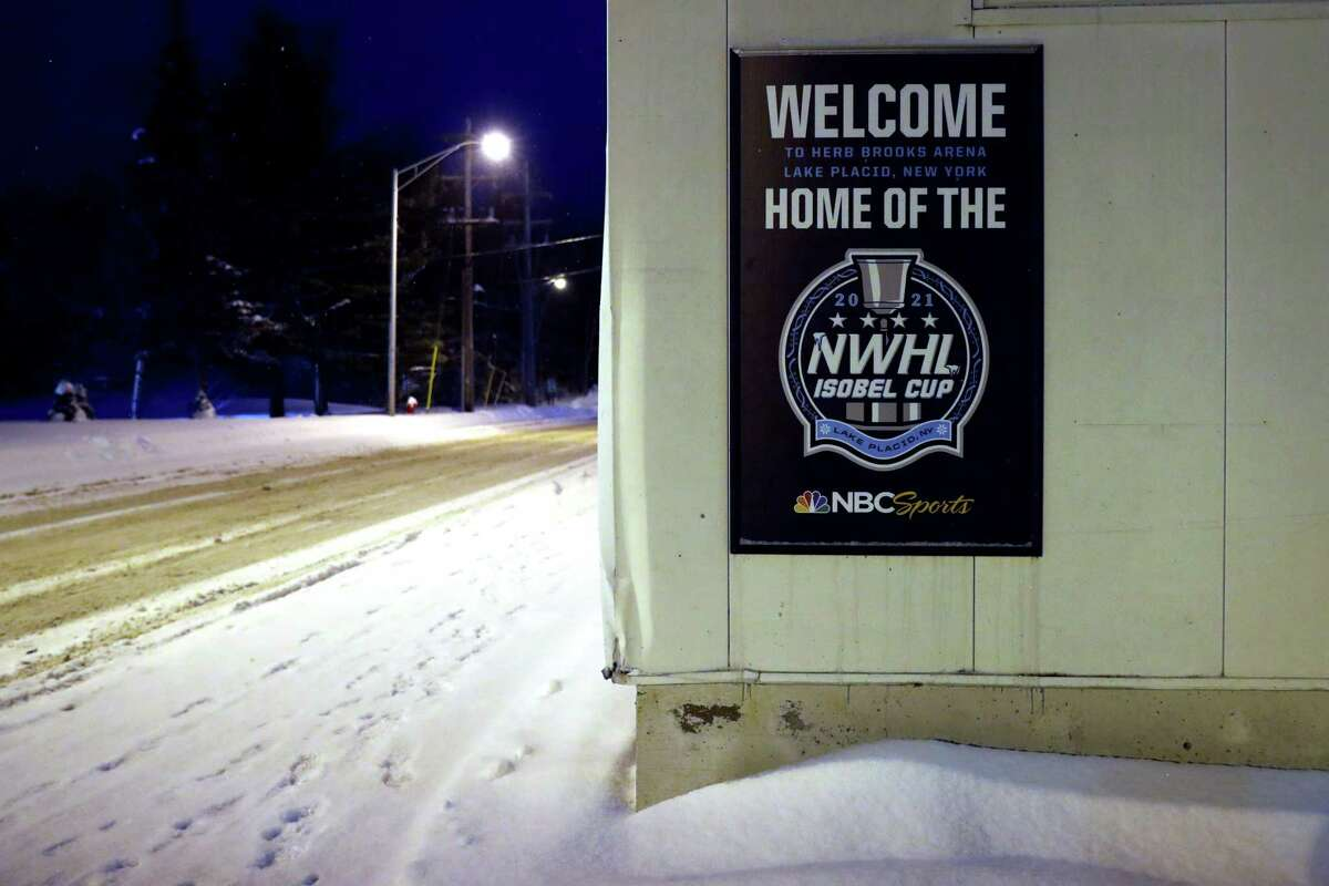 A view of NWHL signage outside of Herb Brooks Arena in Lake Placid, N.Y. after it was announced that the NWHL suspended its season due to COVID-19 earlier this month.